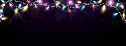 Christmas light banner Stock Images