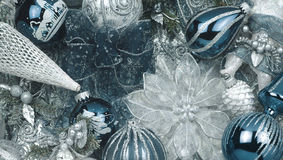 Christmas light blue. Texture christmas ornament, balls, snowflakes Royalty Free Illustration