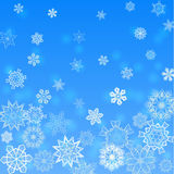 Christmas light blue square background falling snowflakes Stock Images