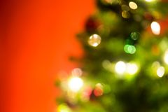 Christmas light bokeh background. Christmas gift box christmas tree background royalty free stock photos