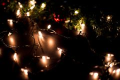 Christmas light bokeh background. Christmas gift box christmas tree background stock image
