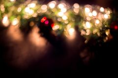 Christmas light bokeh background. Christmas gift box christmas tree background royalty free stock images