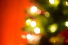 Christmas light bokeh background. Christmas gift box christmas tree background stock photos