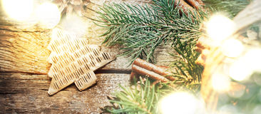 Christmas Light with Bokeh and Metal Fir Tree Toy. Top view Stock Image
