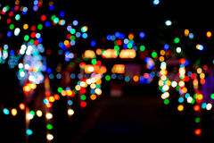 Christmas Light Bokeh. Out of focus scene of a Christmas light display Stock Photography