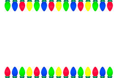 Christmas Light Bulb Border. Christmas lights arranged on the top and bottom of the border/frame isolated on white background. Isolation is on a transparent Royalty Free Illustration