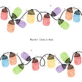 Christmas light bulb colorful finger prints greeting card vector Stock Photo