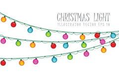 Christmas Light Bulb On White Background. Illustrator Vector Eps 10 Royalty Free Stock Images