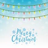 Christmas light bulbs on sky background. Christmas light bulbs on blue sky background Stock Photos