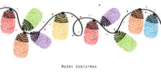 Christmas light bulbs with colorful finger prints vector background Royalty Free Stock Images