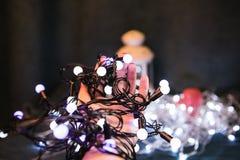 Christmas light bulbs in hands Stock Image