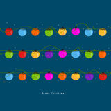 Christmas light bulbs in the night greeting card vector. Background Stock Photos