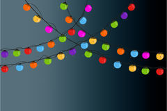 Christmas light bulbs in the night vector background Stock Photography