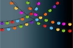 Christmas light bulbs in the night vector background. Christmas light bulbs in the night vector Stock Photography