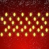 Christmas light bulbs on red Royalty Free Stock Photo