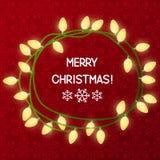 Christmas light bulbs on red Royalty Free Stock Photos