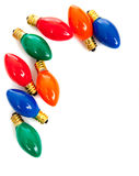 Christmas light bulbs on white Royalty Free Stock Photos