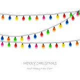 Christmas light bulbs on white background Stock Photo