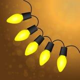 Christmas light bulbs. Christmas yellow light bulbs. Vector Royalty Free Stock Photography