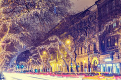 Christmas Light On Central Street in Budapest Stock Photo