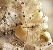 White Christmas tree with colorful decoration. Elements of holiday. Happy new year stock photography