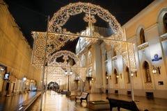 Christmas light decorations on Nikolskaya street Stock Images