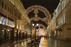 Christmas light decorations on Nikolskaya street in Moscow at night Royalty Free Stock Photography