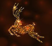 Christmas Light Deer for Happy New Year, Running Stag Stock Photos