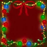 Christmas light frame. Christmas lights and holly on burgundy background illustration Royalty Free Stock Photos