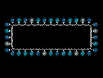 Christmas light frame. Blue Christmas light rectangular frame on a black background Royalty Free Stock Images