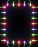 Christmas Light Frame on black. A frame made of small Christmas lights with a blank center royalty free illustration