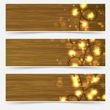 Christmas Light garlands over wooden table cards collection. Vector illustration Stock Image