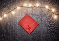 Christmas light and gift box Royalty Free Stock Photo