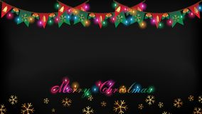 Christmas light,golden flag and snowflake on dark background. Christmas lights hanging on top and illuminate text of `Merry Christmas Royalty Free Stock Photography
