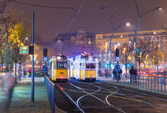 Christmas Light On Old Tram At Train Central Station in Budapest Stock Photos