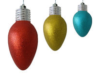 Christmas light ornaments isolated on white Stock Photo