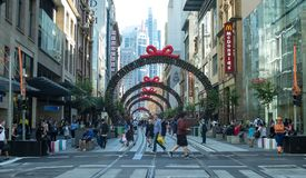 Christmas light rail construction on George Street between King royalty free stock images