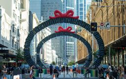 Christmas light rail construction on George Street between King royalty free stock image