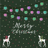 Christmas Light Reindeer Card Royalty Free Stock Photography