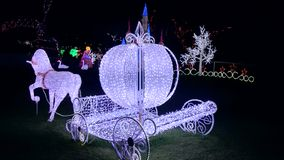 Christmas Light Show - Cinderella Horse Carriage Royalty Free Stock Image