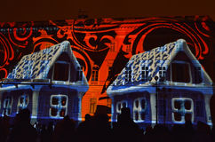 Christmas light show to St. Petersburg January 4, 2015 Royalty Free Stock Photography