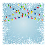 Christmas light with snow Stock Image