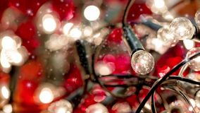 Christmas light with snow effect stock video footage