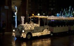Christmas light train. Train with Christmas lights in Milan Stock Photos