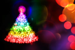 Christmas light tree. On christmas tree magic multicolour enlightened Royalty Free Stock Photo