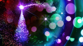 Christmas light tree. Magic christmas tree. Rainbow colours Royalty Free Stock Photo