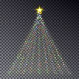 Christmas light tree with garland isolated on dark background. C. Olorful garland effect. Light tree with star template for card, poster. Happy new year Royalty Free Stock Images