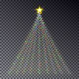 Christmas light tree with garland isolated on dark background. Colorful garland effect. Light tree. With star template for card, poster. Happy new year vector Royalty Free Stock Photo