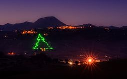 Christmas Light Tree In The Valley Royalty Free Stock Image