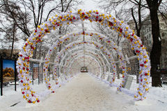 The Christmas light tunnel on Tverskoy Boulevard Royalty Free Stock Image